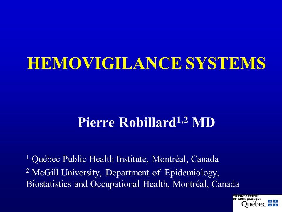 HEMOVIGILANCE SYSTEMS