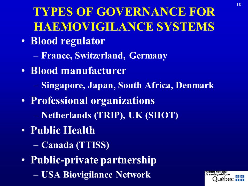 TYPES OF GOVERNANCE FOR HAEMOVIGILANCE SYSTEMS
