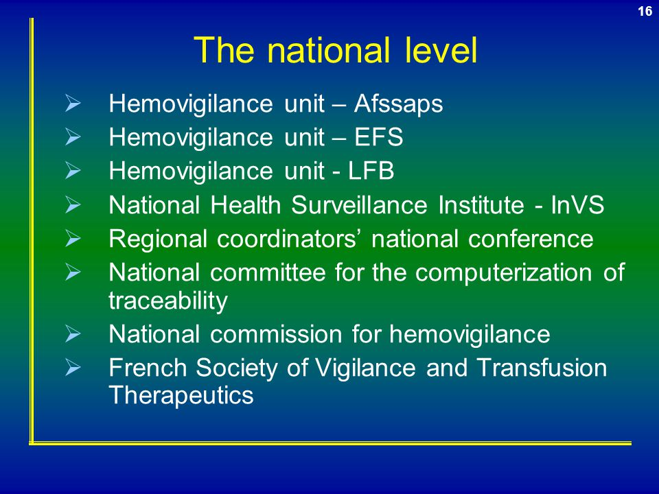 The national level Hemovigilance unit – Afssaps