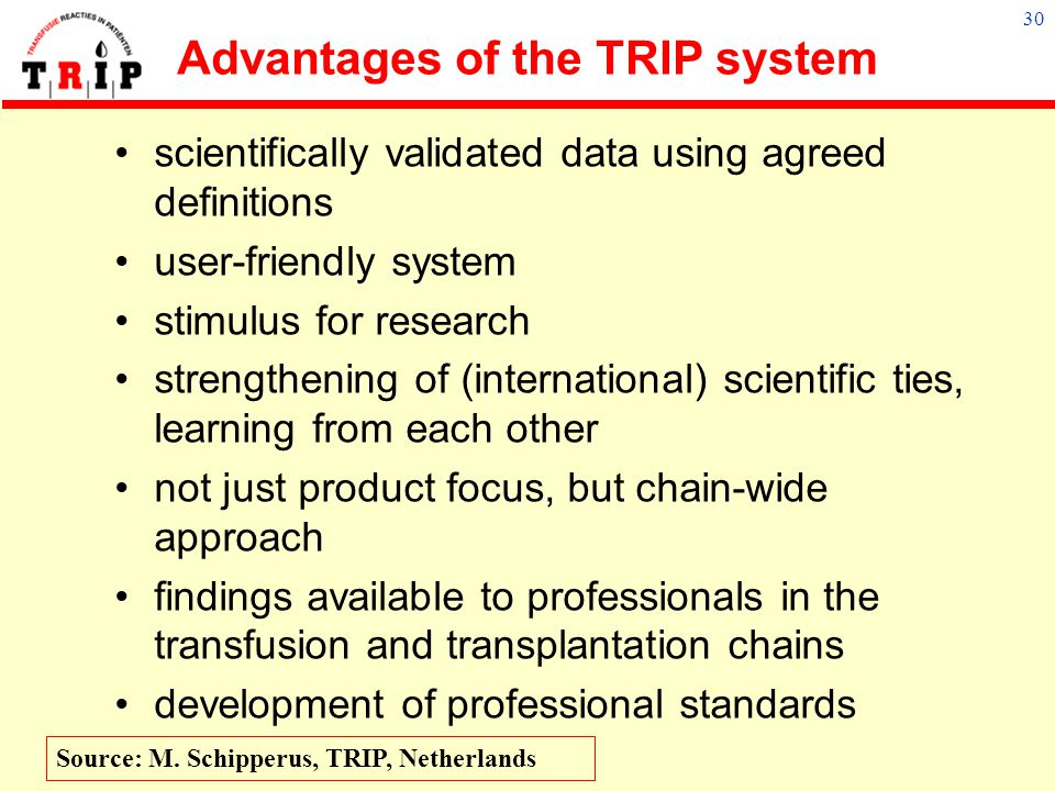 Advantages of the TRIP system