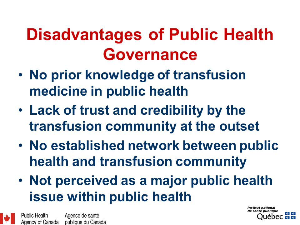 Disadvantages of Public Health Governance