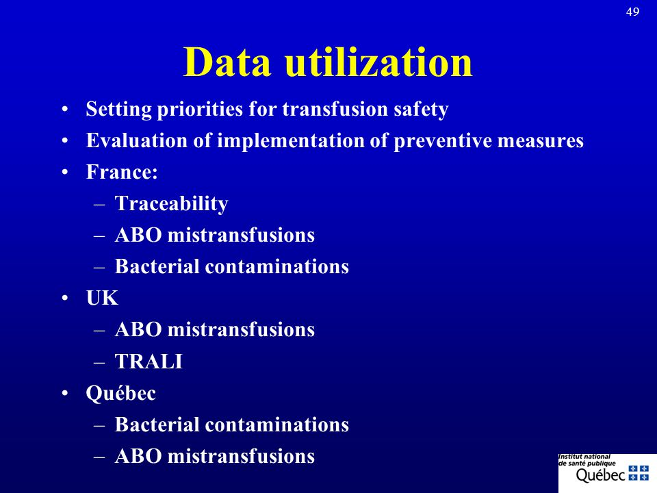 Data utilization Setting priorities for transfusion safety