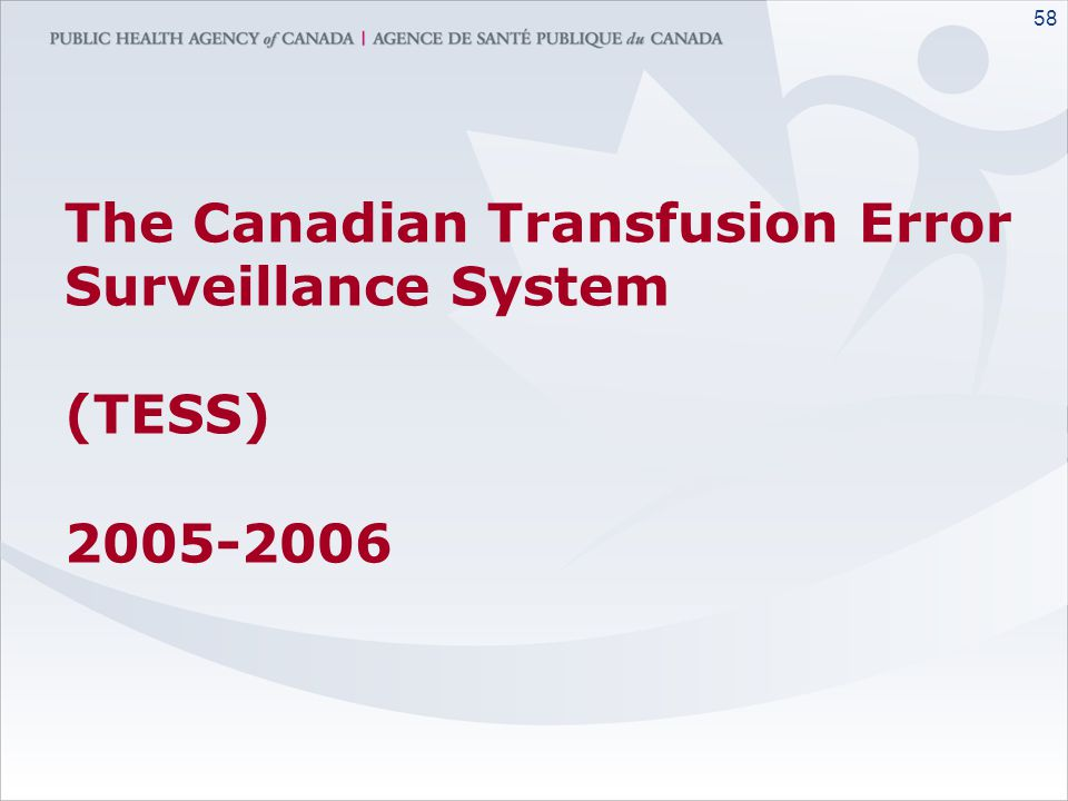 The Canadian Transfusion Error Surveillance System (TESS) 2005-2006