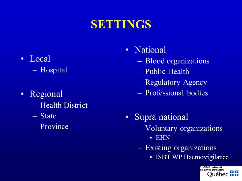 SETTINGS National Local Regional Supra national Blood organizations