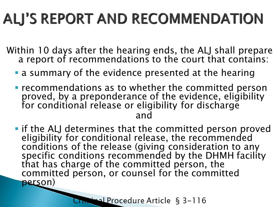 ALJ'S REPORT AND RECOMMENDATION