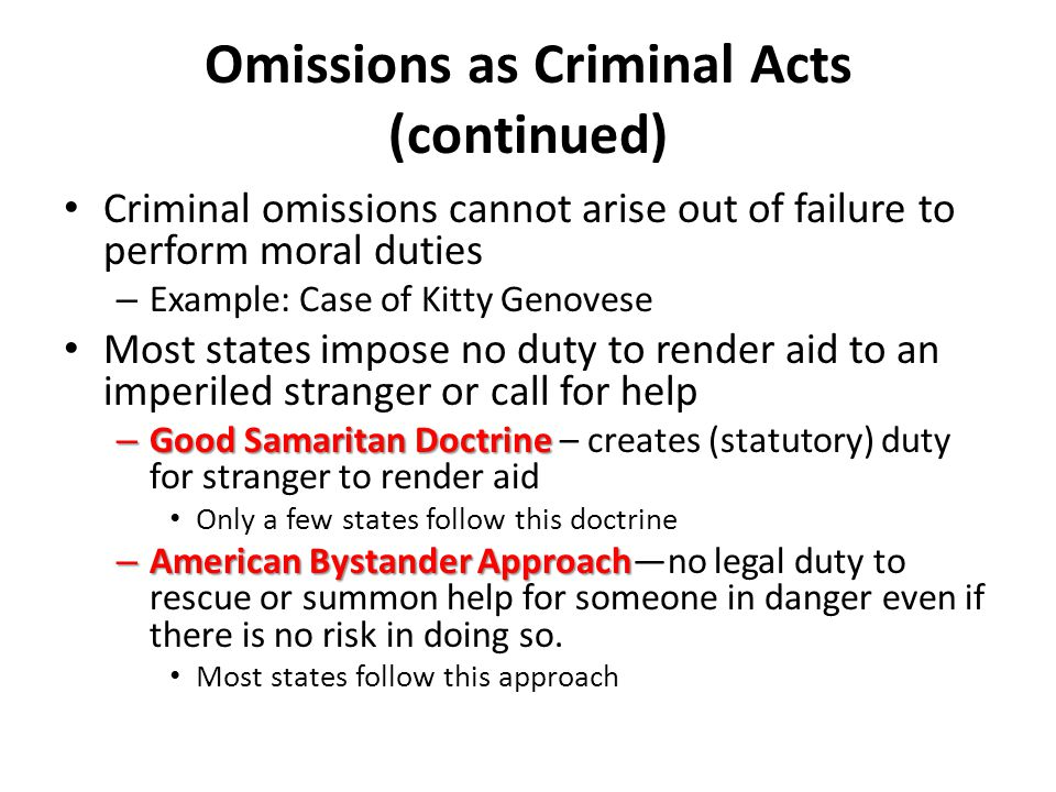 Omissions as Criminal Acts (continued)