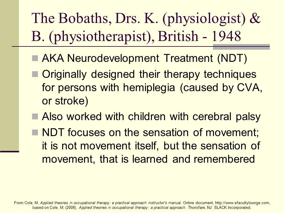 The Bobaths, Drs. K. (physiologist) & B
