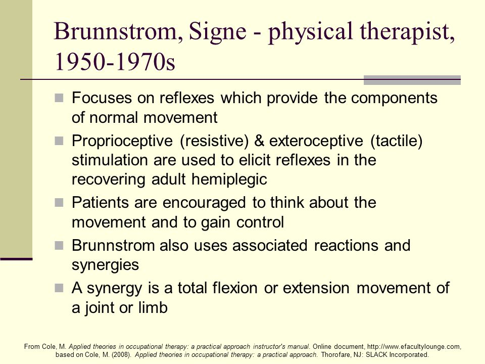 Brunnstrom, Signe - physical therapist, 1950-1970s