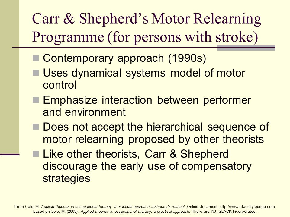 Carr & Shepherd's Motor Relearning Programme (for persons with stroke)