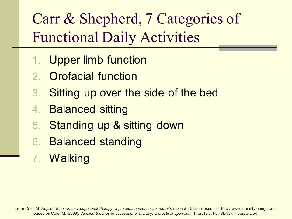 Carr & Shepherd, 7 Categories of Functional Daily Activities