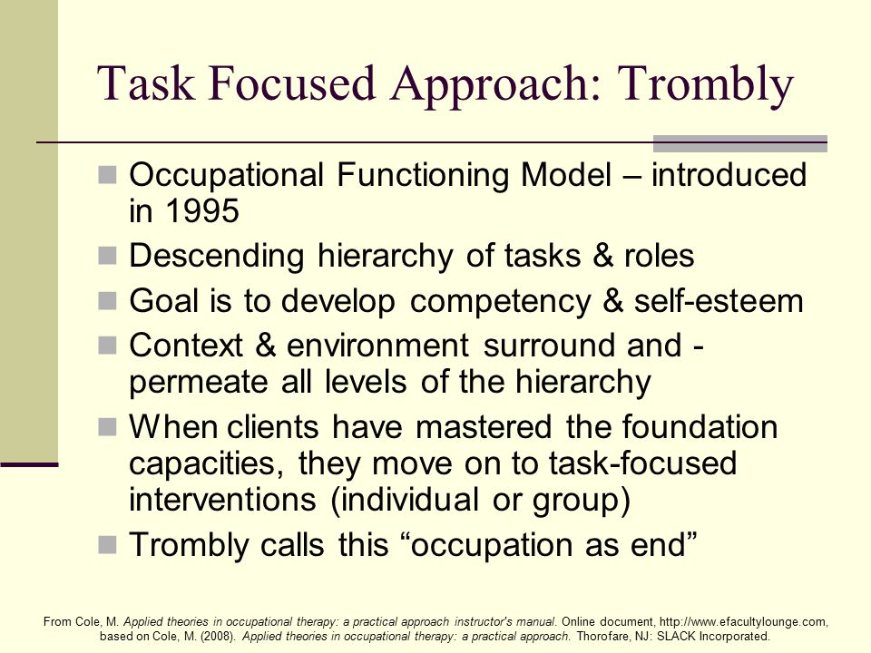 Task Focused Approach: Trombly