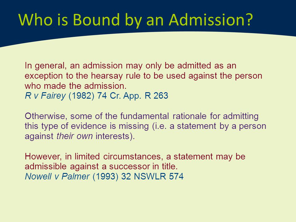 Who is Bound by an Admission