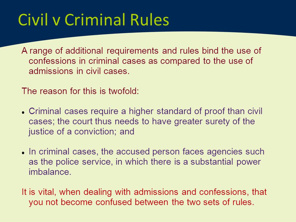 Civil v Criminal Rules