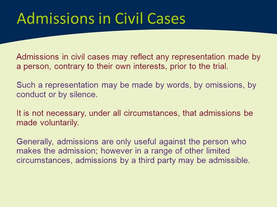 Admissions in Civil Cases