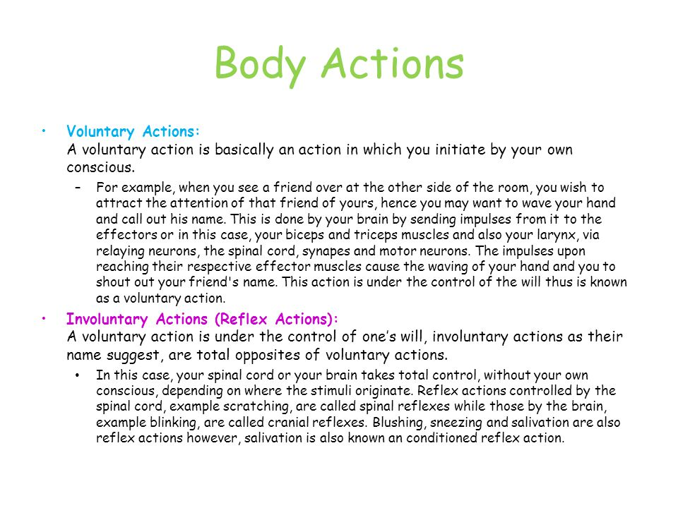 Body Actions Voluntary Actions: A voluntary action is basically an action in which you initiate by your own conscious.