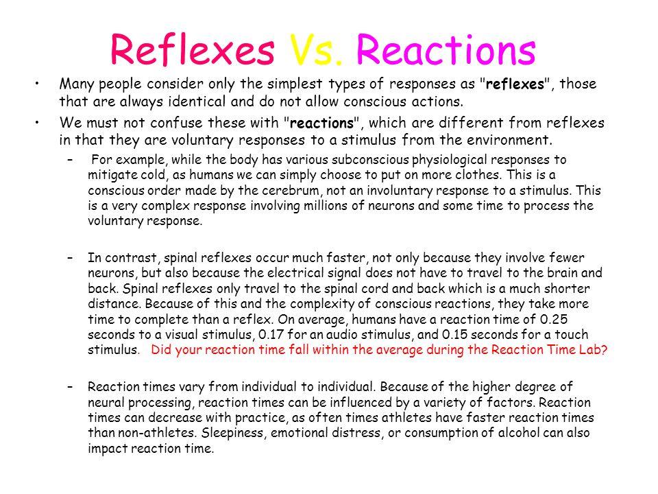 Reflexes Vs. Reactions