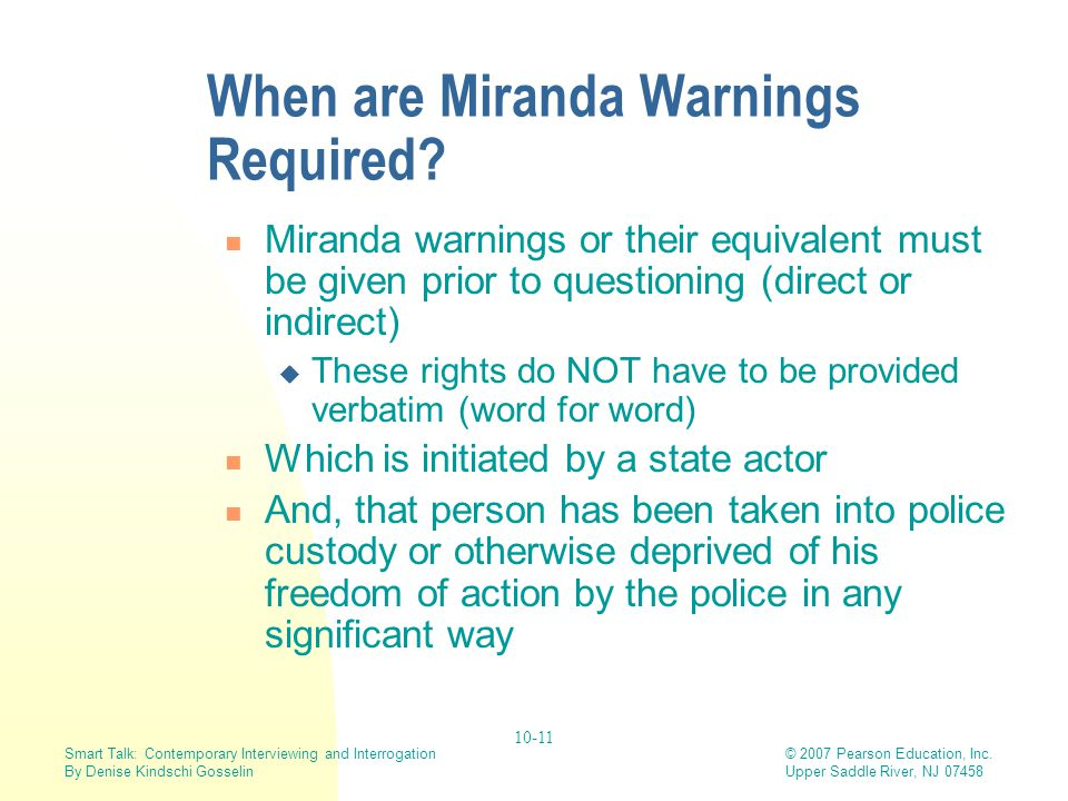 When are Miranda Warnings Required