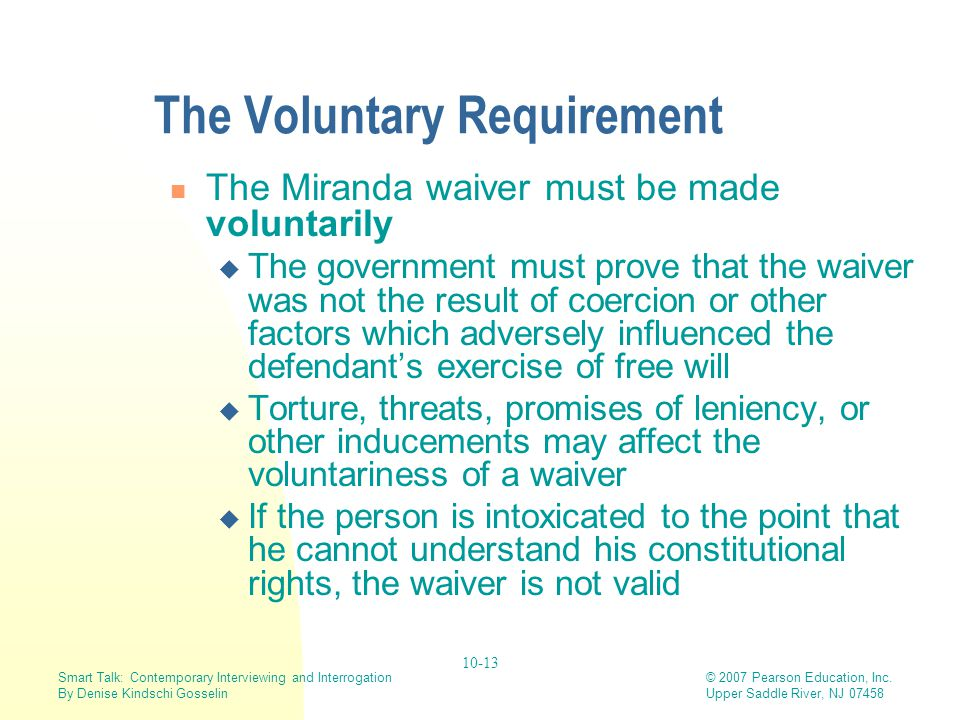 The Voluntary Requirement