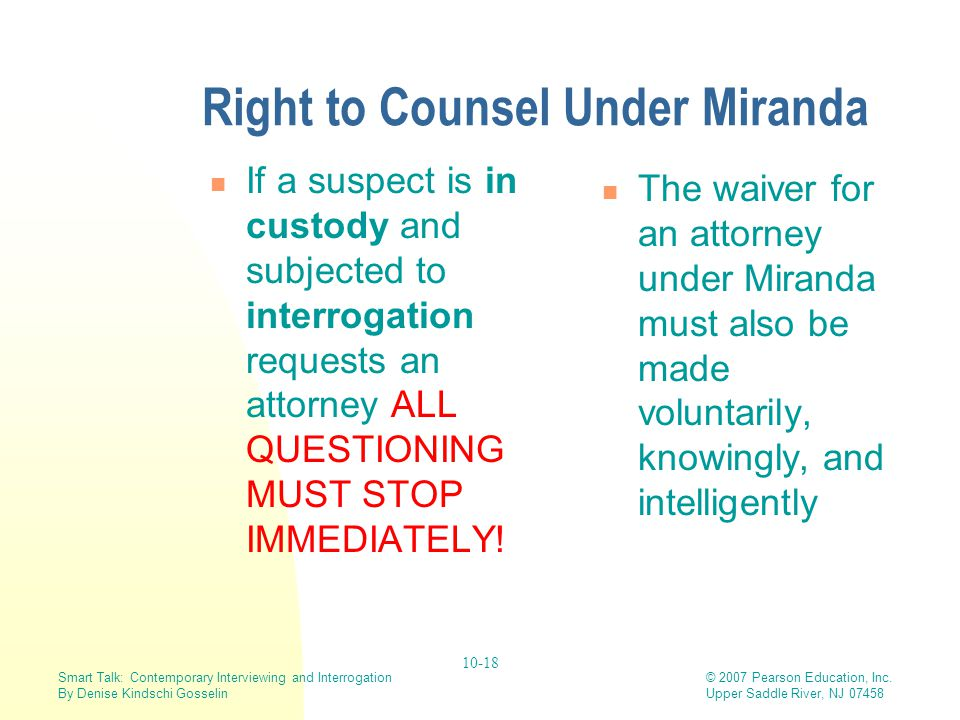 Right to Counsel Under Miranda