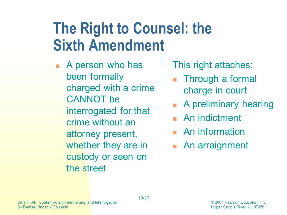 The Right to Counsel: the Sixth Amendment