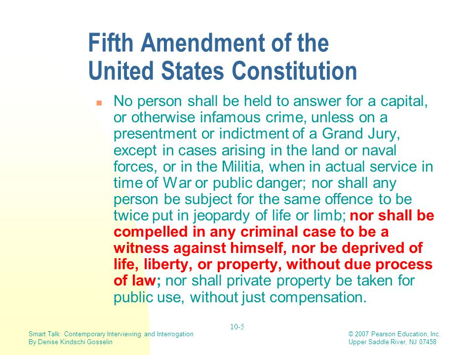 Fifth Amendment of the United States Constitution