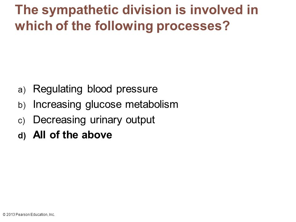 The sympathetic division is involved in which of the following processes