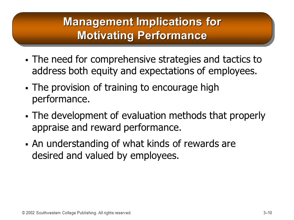 Management Implications for Motivating Performance