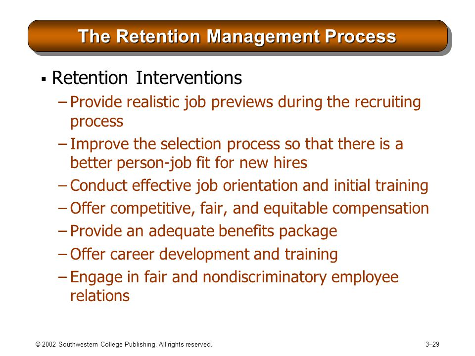 The Retention Management Process
