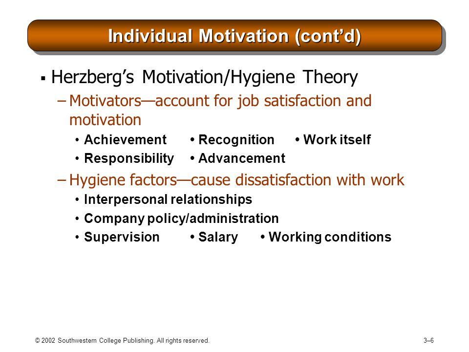 Individual Motivation (cont'd)