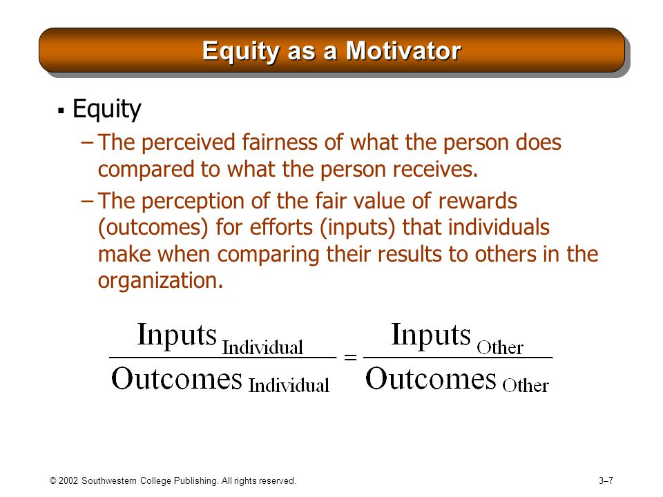 Equity as a Motivator Equity