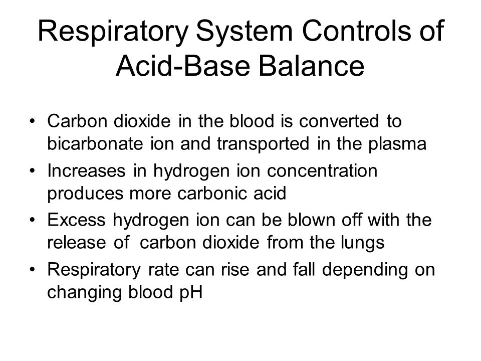 Respiratory System Controls of Acid-Base Balance