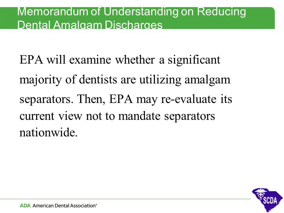 Memorandum of Understanding on Reducing Dental Amalgam Discharges