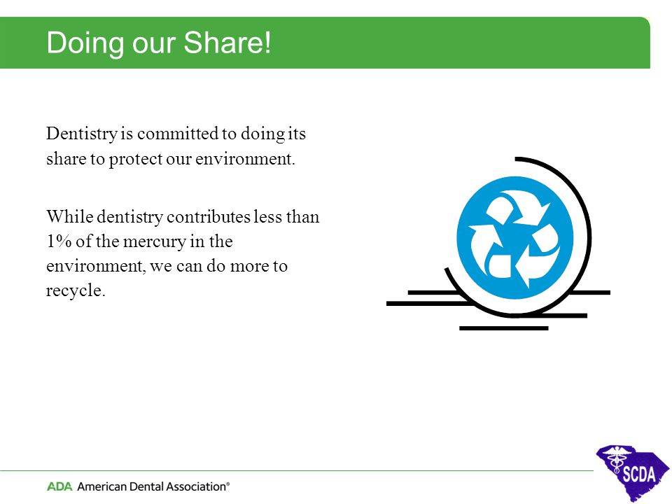 Doing our Share! Dentistry is committed to doing its share to protect our environment.