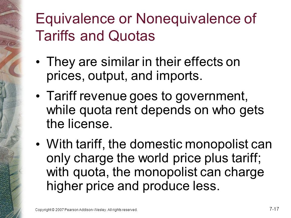 Equivalence or Nonequivalence of Tariffs and Quotas