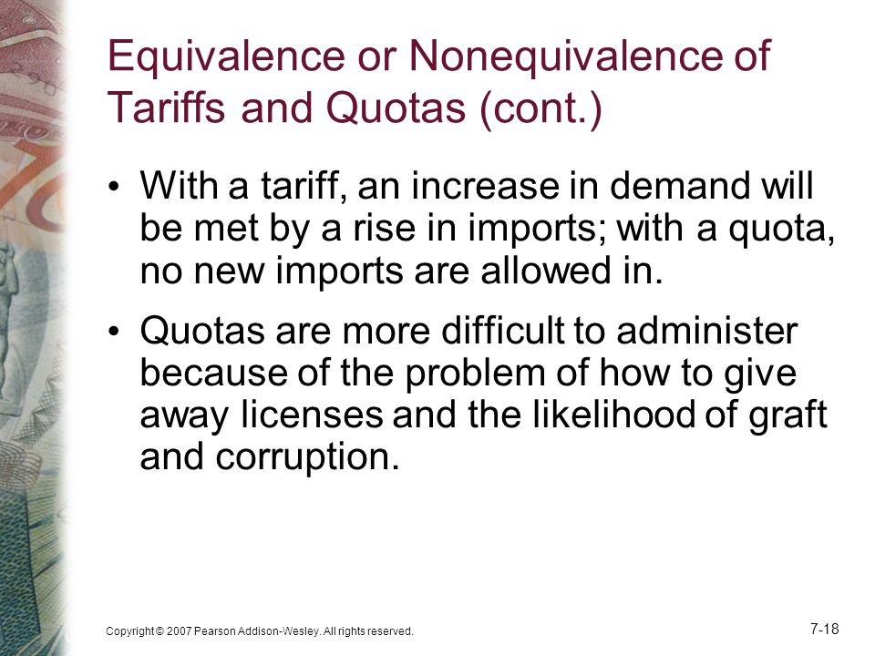 Equivalence or Nonequivalence of Tariffs and Quotas (cont.)