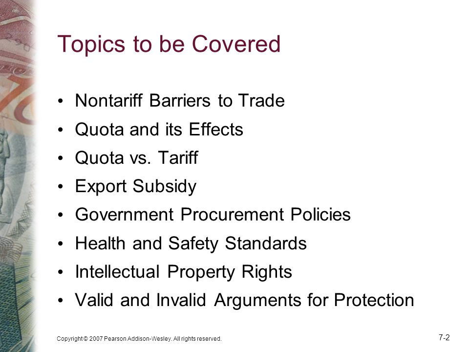 Topics to be Covered Nontariff Barriers to Trade Quota and its Effects
