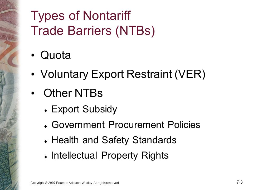 Types of Nontariff Trade Barriers (NTBs)