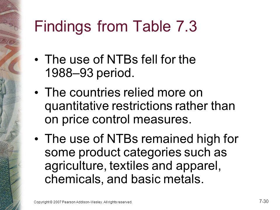 Findings from Table 7.3 The use of NTBs fell for the 1988–93 period.