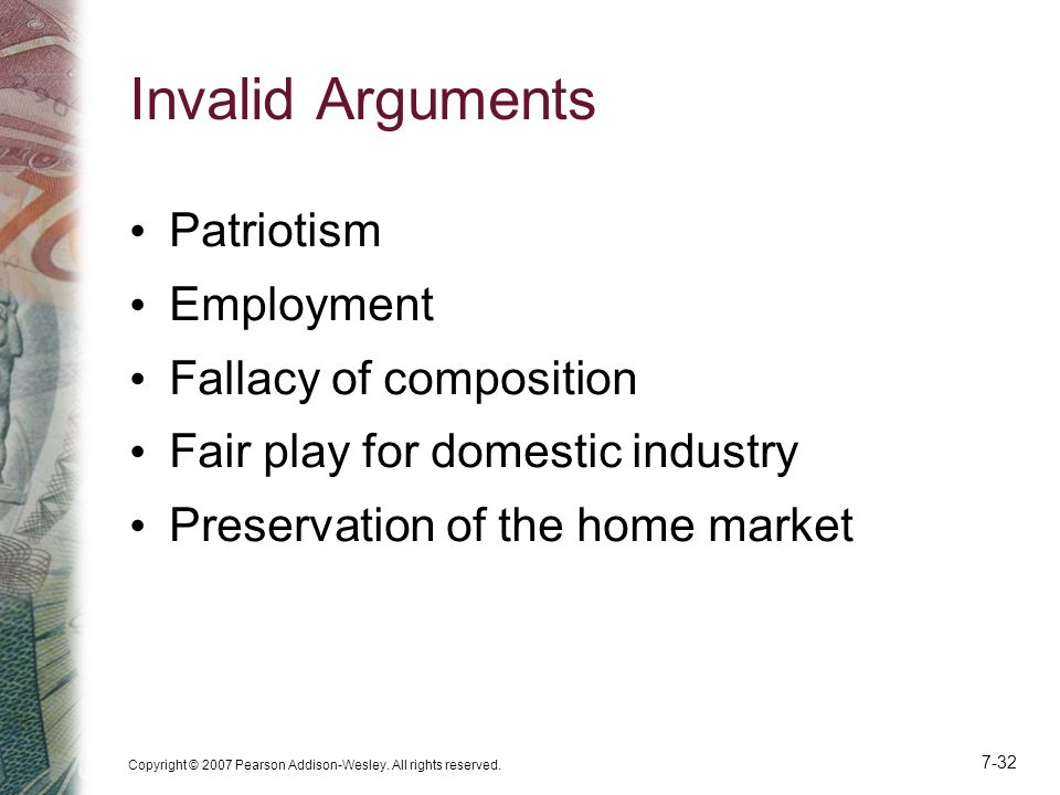 Invalid Arguments Patriotism Employment Fallacy of composition