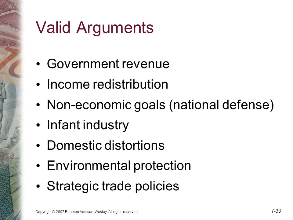 Valid Arguments Government revenue Income redistribution
