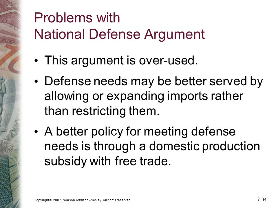Problems with National Defense Argument