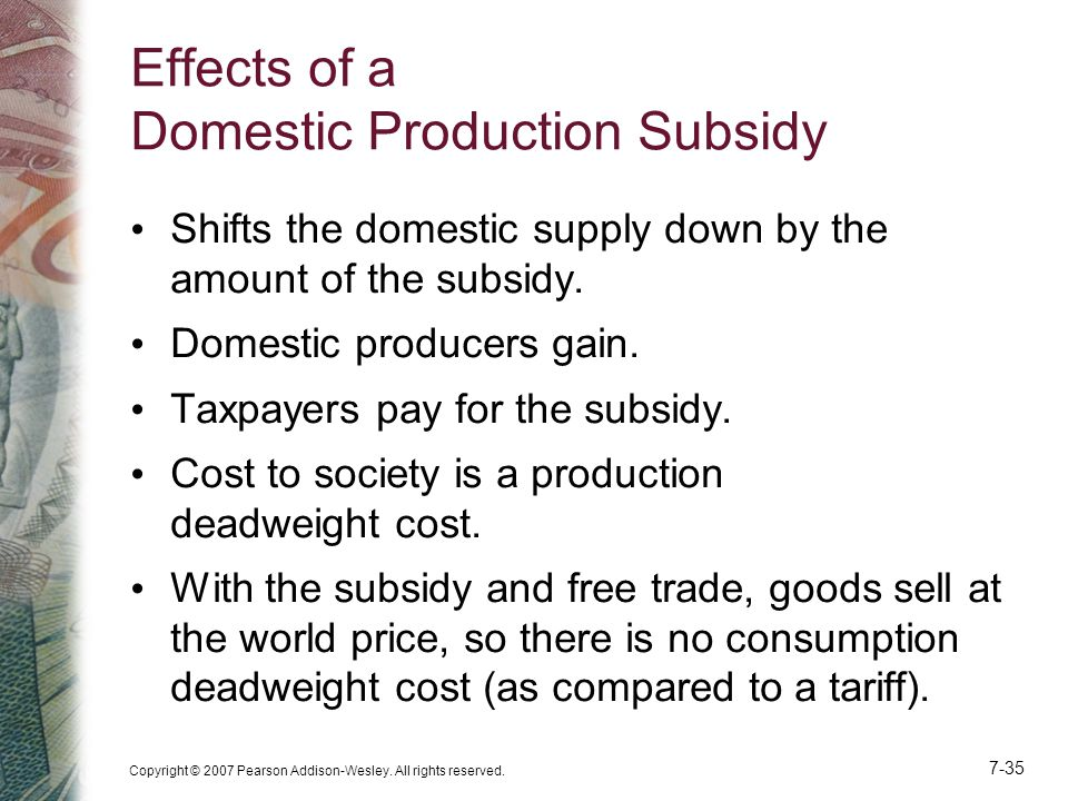 Effects of a Domestic Production Subsidy