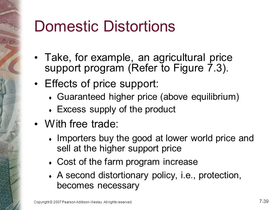 Domestic Distortions Take, for example, an agricultural price support program (Refer to Figure 7.3).