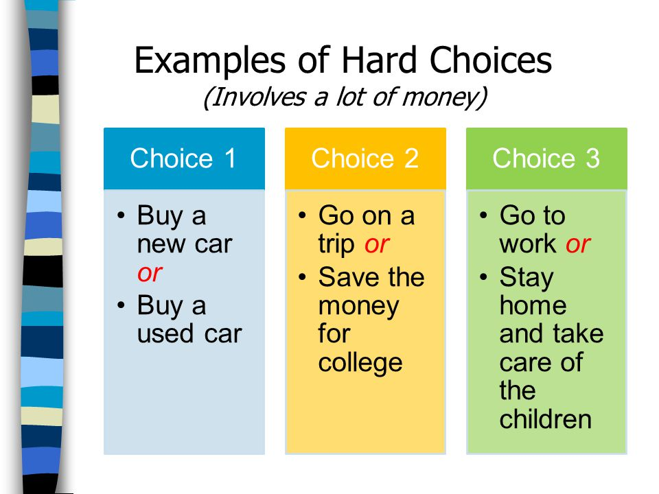 Examples of Hard Choices