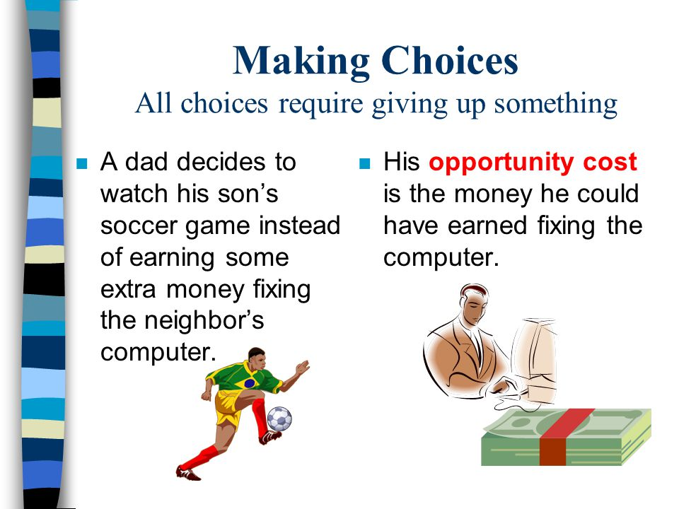 Making Choices All choices require giving up something
