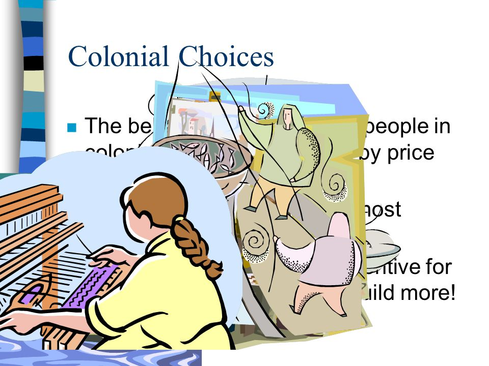 Colonial Choices The behavior and choices of people in colonial times were affected by price incentives, too!