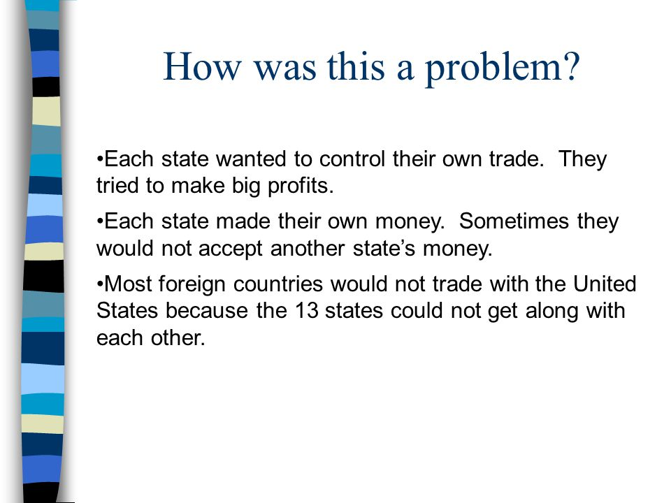 How was this a problem Each state wanted to control their own trade. They tried to make big profits.
