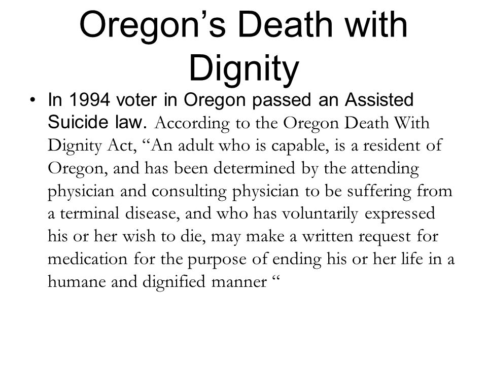 Oregon's Death with Dignity