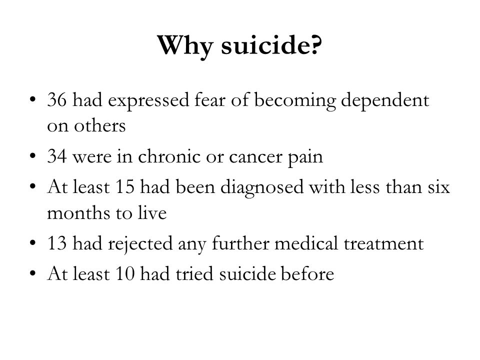 Why suicide 36 had expressed fear of becoming dependent on others