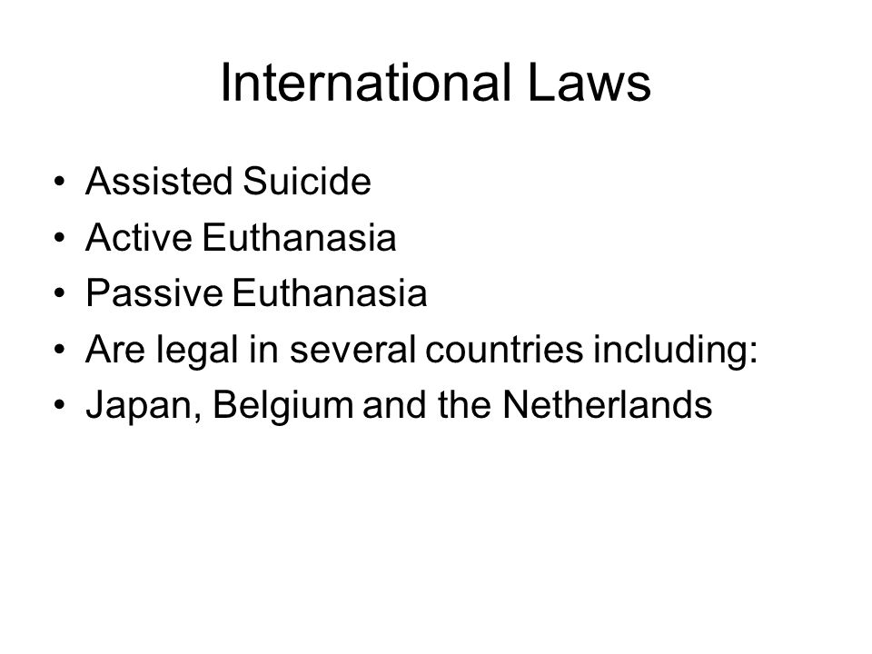 International Laws Assisted Suicide Active Euthanasia